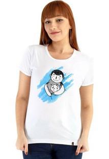Baby Look Ouroboros Manga Curta Abraço De Urso - Feminino-Branco