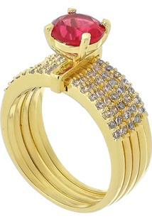 Anel Cinco Elos Com Cristal Rosa 3Rs Semijoias Dourado