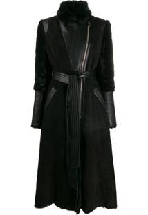 Temperley London Casaco Texturizado Com Cinto - Preto
