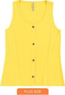 Blusa Malha Canelado Traxy Amarelo