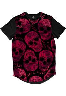 Camiseta Bsc Longline Caveira Arabesco Sublimada Preta Rosa