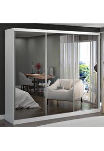 Guarda-Roupa Casal 3 Portas Correr Com 3 Espelhos 100% Mdf 1905E3 Branco - Foscarini