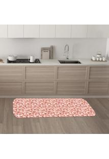 Tapete De Cozinha Mdecore Floral Rosa 40X120Cm