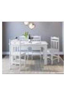 Conjunto De Mesa De Cozinha Com 4 Cadeiras Branco Lilies Móveis