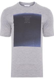 Camiseta Masculina Slim Com Estampa Blue - Cinza