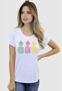 Camiseta Suffix Blusa Estampa Abacaxi Basica Gola Redonda Feminina - Feminino-Branco
