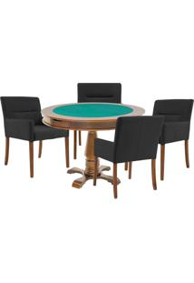 Mesa De Jogos Carteado Victoria Redonda Tampo Reversível Amêndoa Com 4 Cadeiras Vicenza Preto Fosco - Gran Belo
