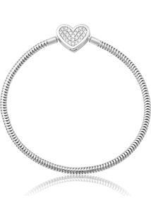 Pulseira De Prata 925 Charms Com Coração De Zircônias - 15Cm