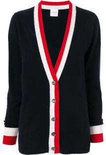 Madeleine Thompson Cashmere Striped Trim Cardigan - Azul