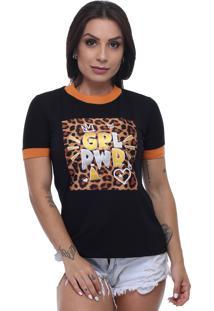 T-Shirt Tee Fashion Patche Girl Power Preto