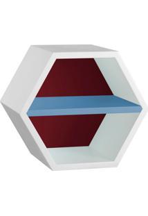 Nicho Hexagonal Favo Ii Com Prateleira Branco Com Bordo E Azul Serenata