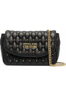 Versace Jeans Couture Bolsa Tiracolo Matelassê Com Tachas - Preto
