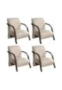 Conjunto De 4 Poltronas Sevilha Decorativa Braço De Madeira Cadeira Para Recepção, Sala Estar Tv Espera, Escritório, Vários Ambientes - Linho Bege