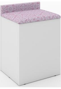 Puff Baú Tecno Mobili Com Encosto-Branco Com Estampa Vintage Rosa Romântico - Multistock