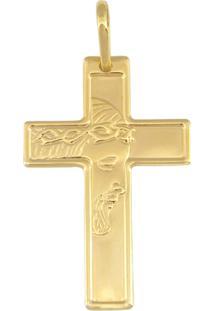 Pingente Prata Mil Cruz Com Face De Cristo Dourado - Kanui