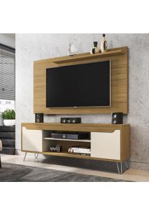 Rack Com Painel Para Tv Até 50 Polegadas Chanel Cinamomo/Off-White - Móveis Bechara
