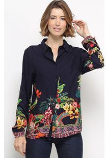 Camisa Manga Longa C & V Collection Barra Floral Feminina - Feminino