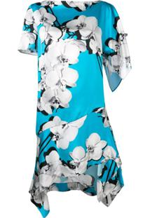 Roberto Cavalli Asymmetric Orchid Print Shift Dress - Azul