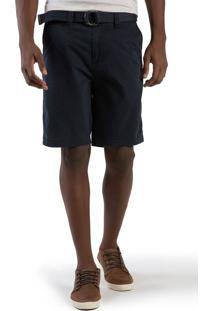 Bermuda Chino Flex Com Cinto Azul Marinho