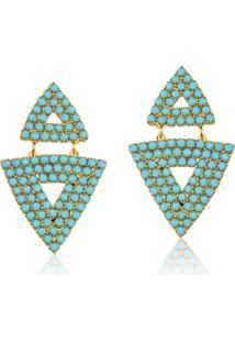 Brinco Rincawesky Triangulo Cristal Azul