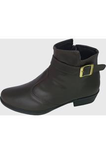 Bota Moda Pé Ankle Boots Café Fivela