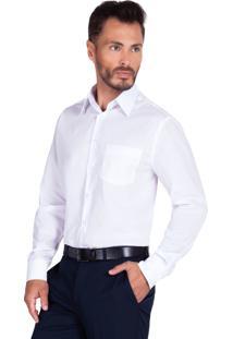 Camisa Olimpo Camisaria Tricoline Lisa Com Bolso Manga Longa Branca