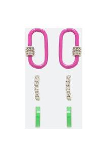 Kit 3 Brincos Pintados E Com Strass | Accessories | Multicores | U