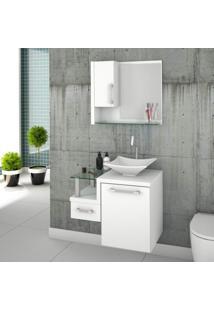 Gabinete Para Banheiro 1 Porta 1 Gaveta 1 Cuba Folha Lux E Espelheira Legno 630W Siena Móveis Branco/Branco Chess