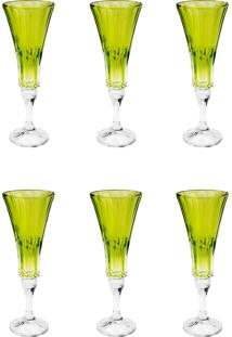 Conjunto Rojemac 6 Taças De Cristal Ecológico Para Champagne Wellington Lime Verde - Kanui