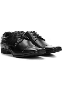 Sapato Social Couro Rafarillo Detalhe Costura New Vegas Masculino - Masculino-Preto
