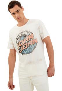 Camiseta John John Rg Wave Globe Stains Malha Branco Masculina (Off White, G)