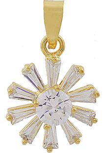 Pingente Narcizza Semijoias Flor Baguetes Cristal Ouro