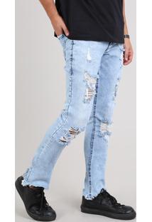 Calça Jeans Masculina Skinny Destroyed Barra Desfiada Azul Claro