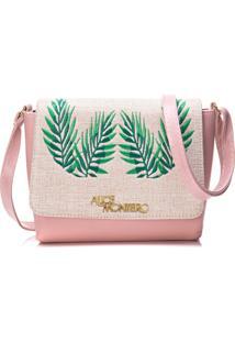Bolsa Alice Monteiro Com Tampa Bordado Folhas - Rosa
