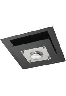 Plafon Em Vidro Quadrado Para 1 Lâmpada 40Cm Preto