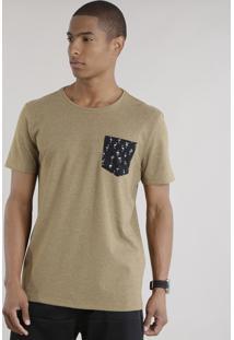 Camiseta Com Bolso Estampado De Flamingos Caramelo