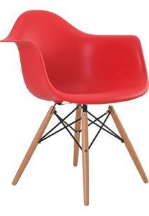 Cadeira Eiffel C/Braço Pp Vermelho Base Madeira Rivatti