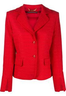 Alberta Ferretti Blazer De Tweed Com Abotoamento Único - Vermelho