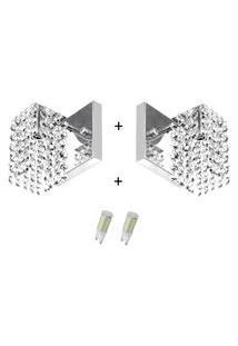 2X Arandelas Cristal Leg. Clearcast + Lâmpadas 3000K Amarela