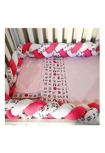 Enxoval Para Quarto De Bebê 4 Peças Panda Rosa
