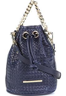 Bolsa Couro Jorge Bischoff Mini Bag Tressê Feminina - Feminino-Marinho