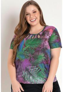 Blusa Folhagem Roxa Com Decote Vazado Plus Size
