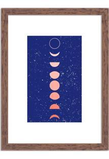Quadro Decorativo Fases Da Lua Azul Madeira - Médio