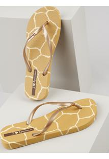Chinelo Feminino Ipanema I Love Safari Estampado Animal Print Girafa Mostarda