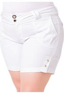 Shorts Jeans Médio Com Elastano Plus Size Feminino - Feminino-Branco