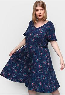 Vestido Wee! Plus Size Curto Floral - Feminino-Floral