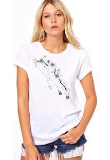 Camiseta Coolest Galhos Flores Branco