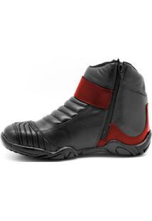 Bota Coturno Atron Shoes Motociclista Em Couro Preto/Vermelho