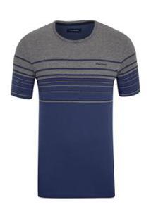 Camiseta Pierre Cardin Listradora Masculina - Masculino-Marinho