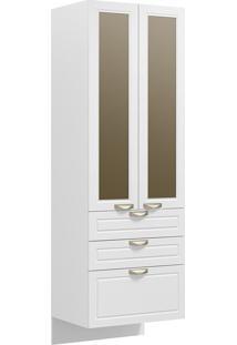 Paneleiro Suspenso 2 Portas Com Vidro Reflecta E 3 Gavetas Nevada 5628Svd-Multimóveis - Branco Premium / Branco